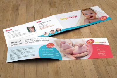 Werbeflyer Babymassage Angermayer, 4-seitig DIN lang, 4/4-farbig CMYK