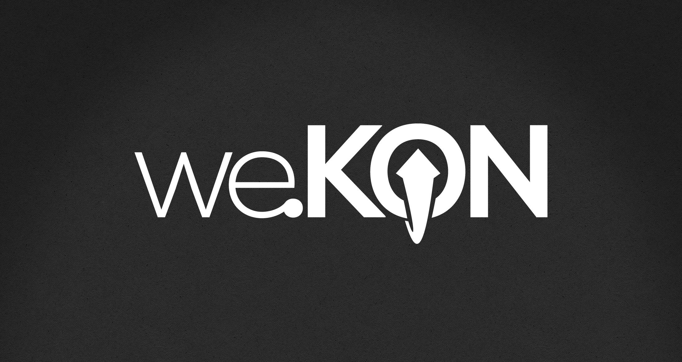 Logo we.KON, Gonbach, 1-farbig weiß (negativ)