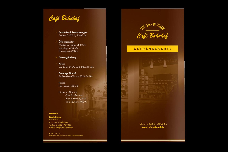 Getränkekarte Café - Bar - Restaurant, Kirchheimbolanden (Titel + Rückseite)