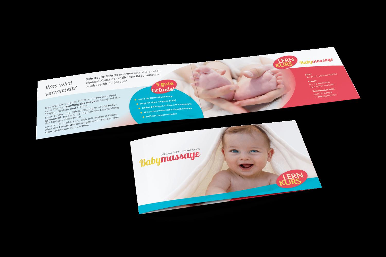 Flyer / Infomaterial Babymassage, Göllheim (Titelseite + Inhalt)