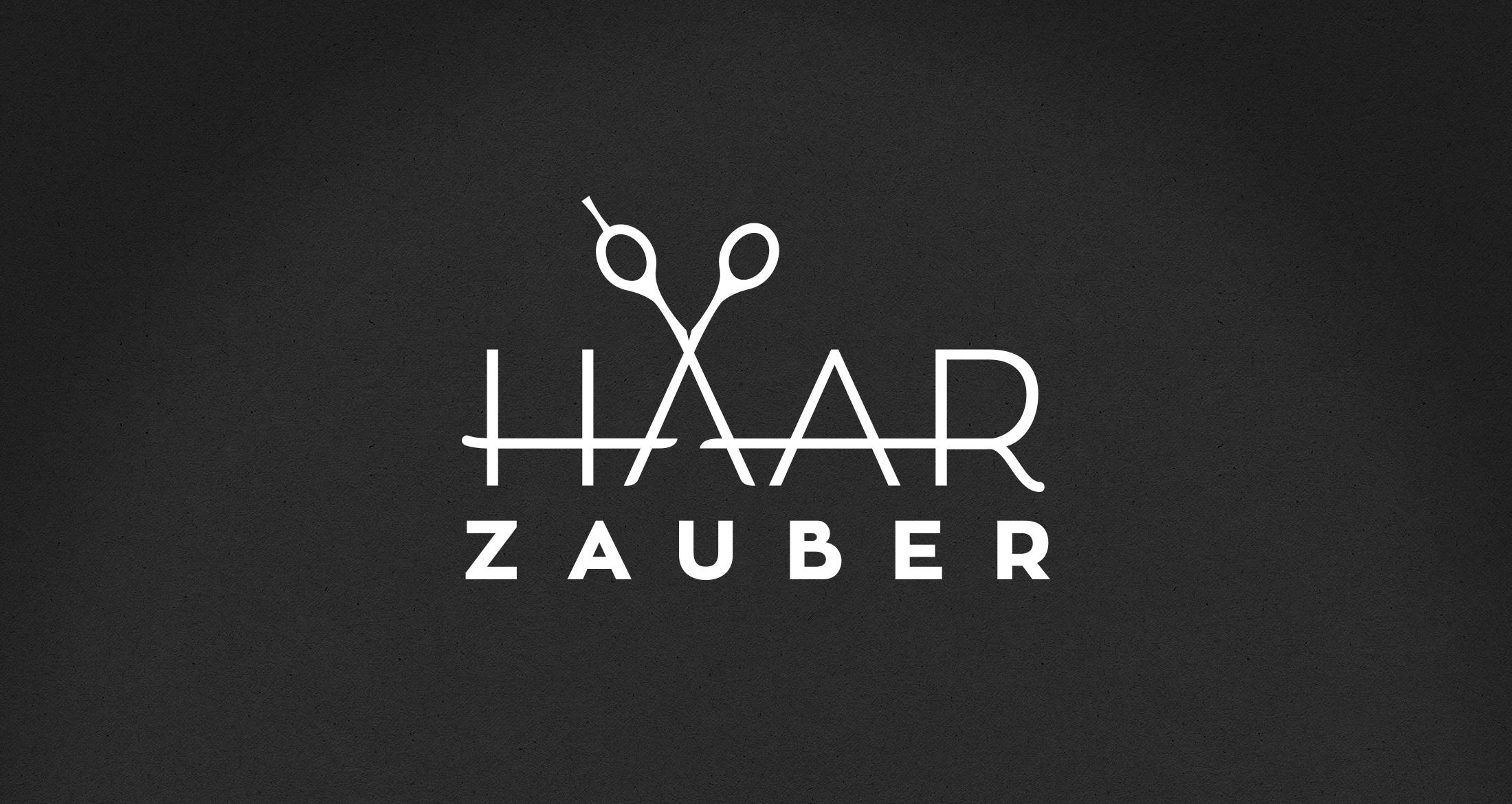 Logo Haarzauber, Jakobsweiler, 1-farbig weiß