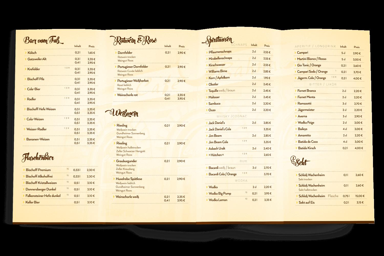Getränkekarte Café - Bar - Restaurant, Kirchheimbolanden (Inhalt)