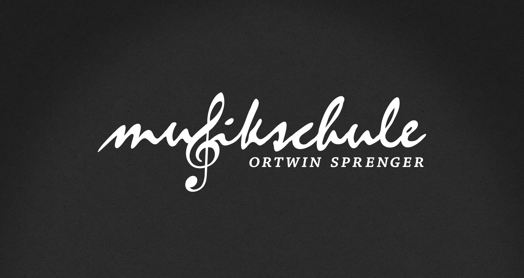 Logo Musikschule Ortwin Sprenger, Albisheim, 1-farbig weiß (negativ)