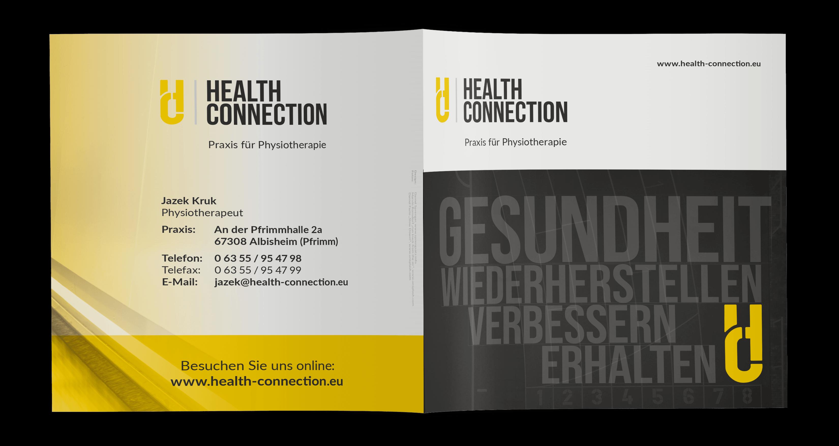 Gestaltung Praxisflyer Physiotherapeut, Albisheim (Titel-/Rückseite)