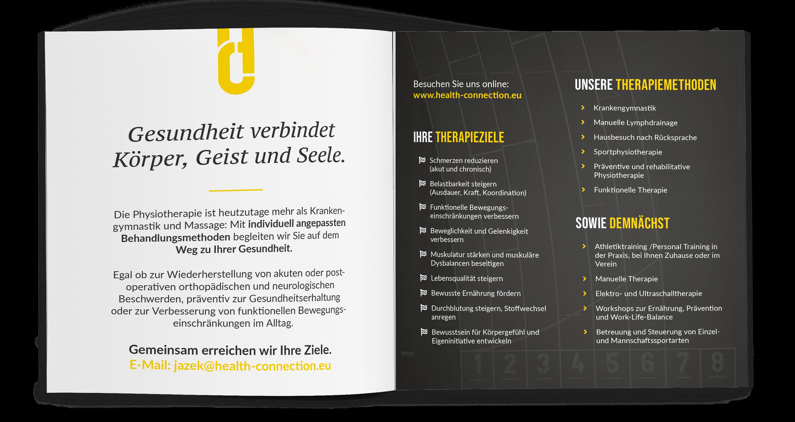 Gestaltung Praxisflyer Physiotherapeut, Albisheim (Innenteil)