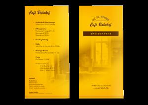 Menü-/Speisekarte Café - Bar - Restaurant, Kirchheimbolanden (Titel + Rückseite)