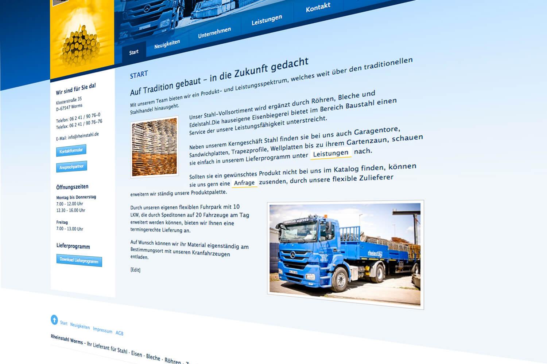 Webdesign Stahlhandel, Worms (Detail)