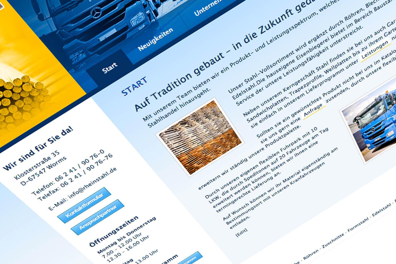 Webdesign Stahlhandel, Worms (Detail 2)