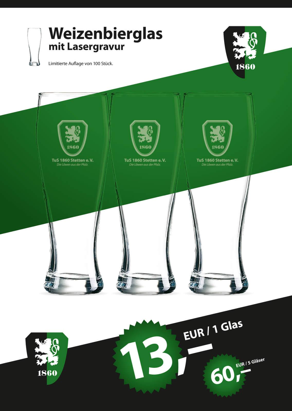 Weißbierglas mit Lasergravur Vereinswappen