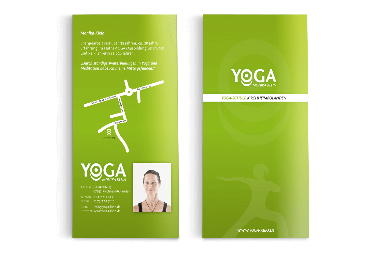 Werbeflyer Yoga-Schule, Kirchheimbolanden (Titelseite + Rückseite)
