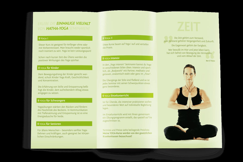 Werbeflyer Yoga-Schule, Kirchheimbolanden (Inhalt)